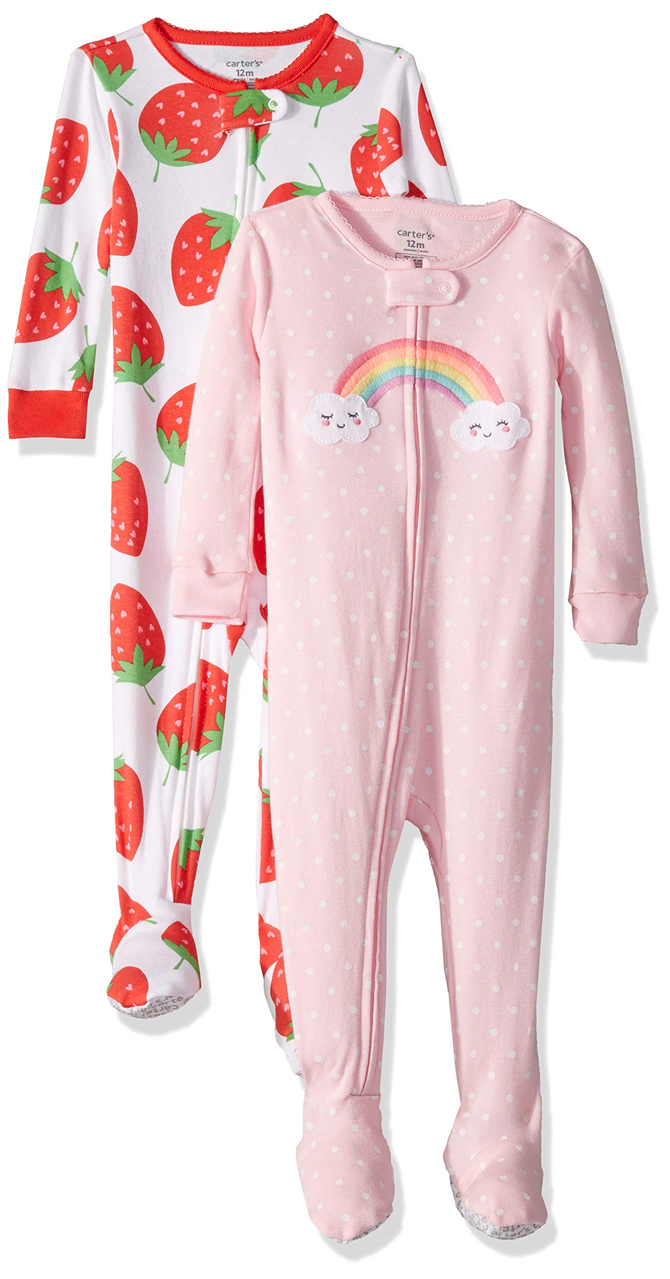Carter's Baby Girls 2-Pack Cotton Footed Pajamas, Strawberry/Rainbow, 18 Months by Carter's