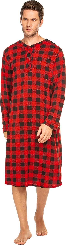Ekouaer Sleepwear Mens Nightshirt Big & Tall Plaid Sleep Shirt Lightweight Henley Pajamas Shirt