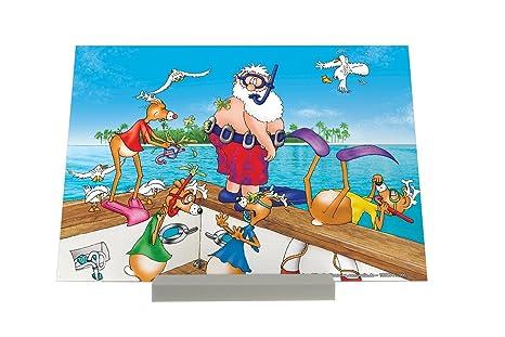 Soporte Fotografias Dibujos Animados Santa en vacaciones Pared Letrero