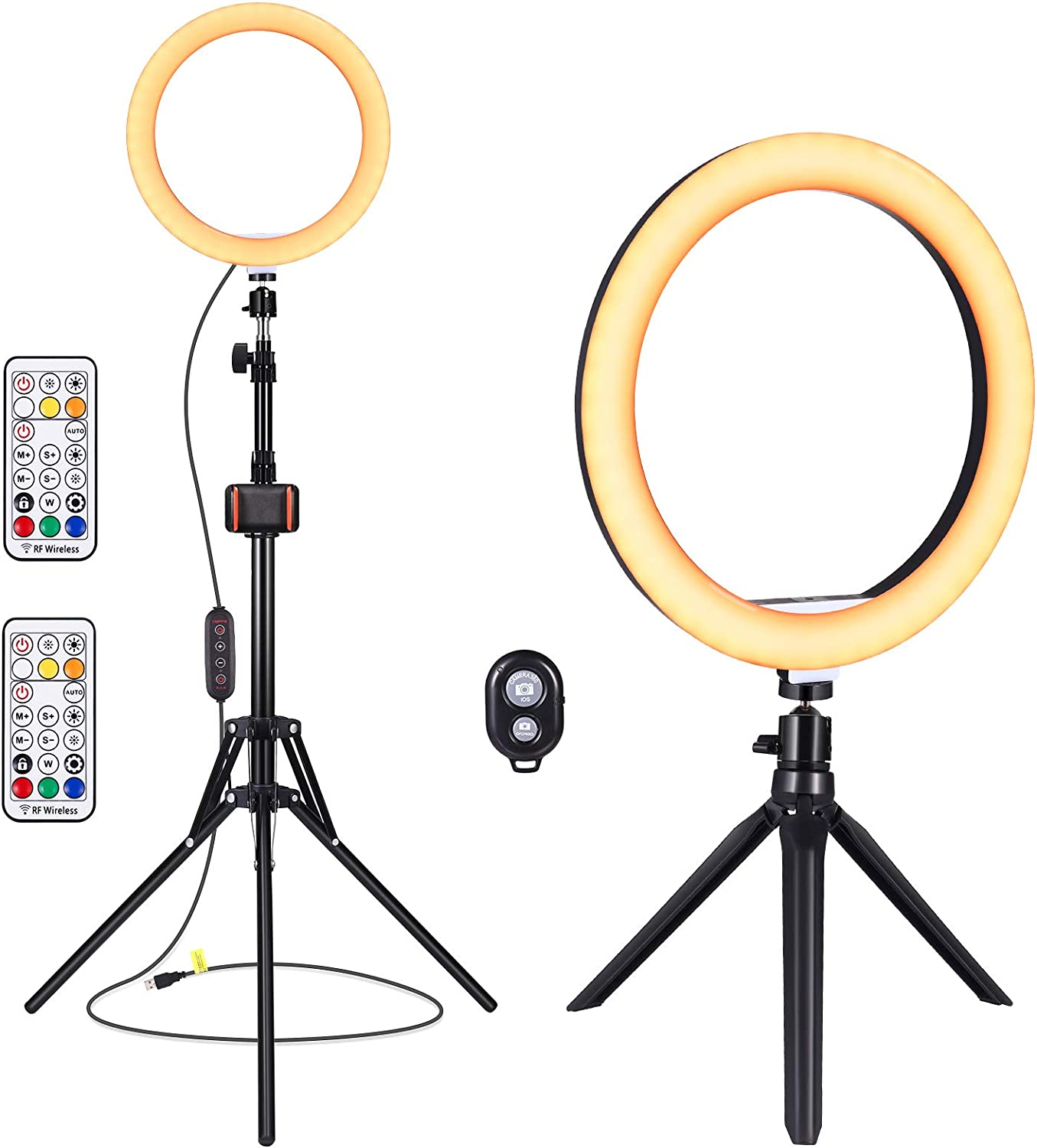 "10"" Selfie Ring Light - YUNLIGHTS Ring Light with Stand & Remote Control & Phone Holder & Camera Remote, Dimmable Makeup Magic Light with Desktop Stand for Live Stream/Photography iPhone Android"