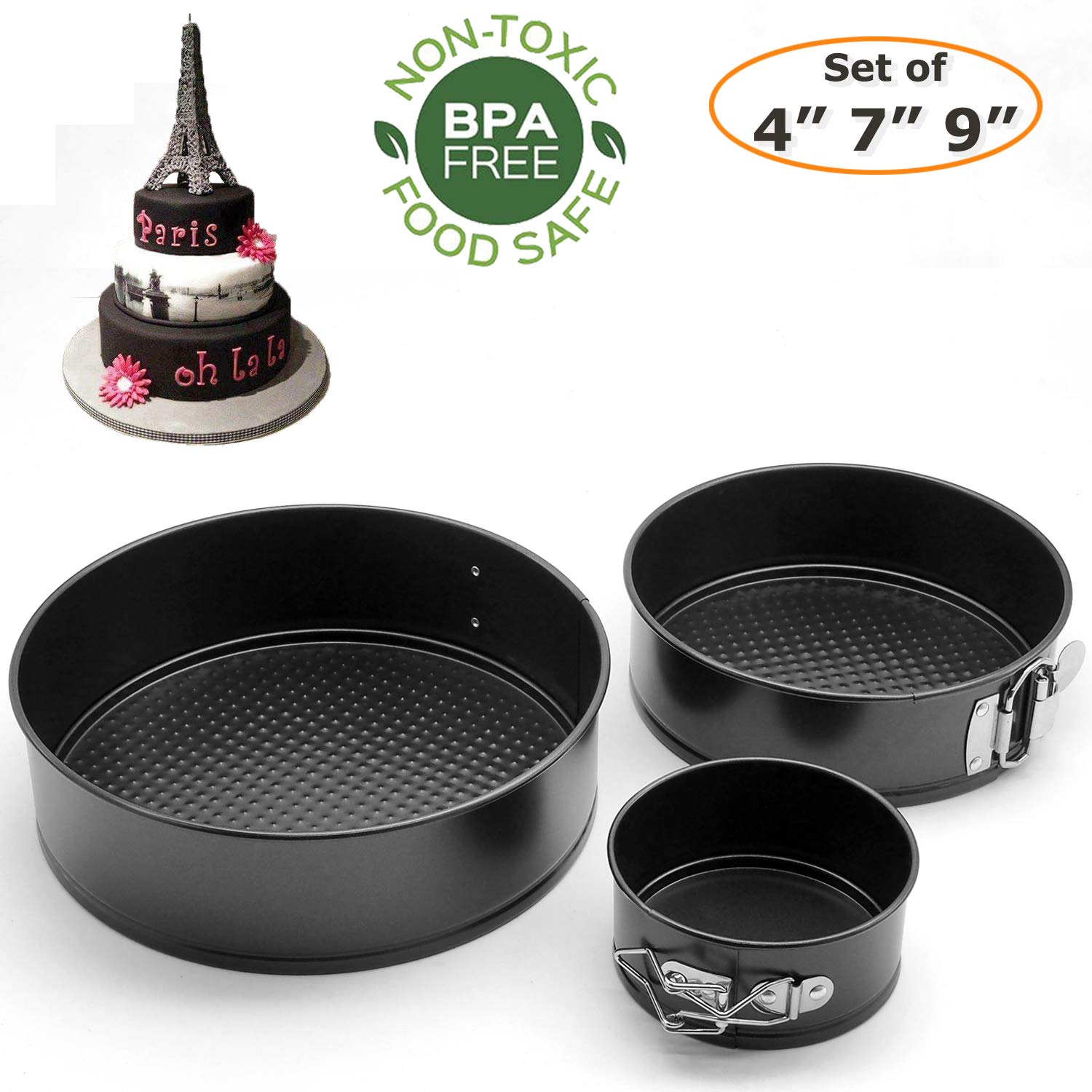 Springform Pan Set, 3 Pieces(4/7/9 inches) Food Grade Non-stick Leakproof Round Cake Pans, Heavy Duty Carbon Steel BPA Free Bakeware Removable Bottom Baking Molds for Cheesecake by Yeasgo by Yeasgo