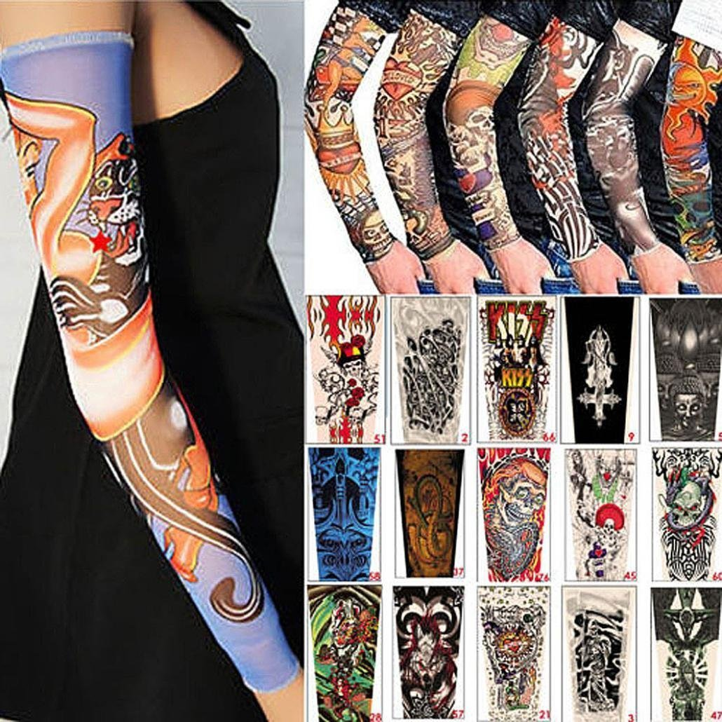 3a654c770 Kingko® 6PCS Fashion Outdoor Arm Sunscreen Sleeves Temporary Fake Slip On  Tattoo Sun Protective for Cycling Hiking Fishing Running Unisex Cover Up  Sleeve: ...