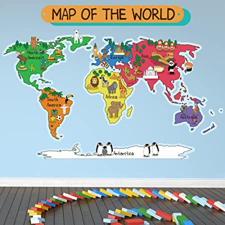 Azutura animal world map wall sticker world map wall decal kids azutura animal world map wall sticker world map wall decal kids bedroom home decor available in gumiabroncs Image collections