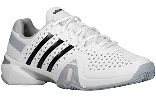 online store 49028 2bcb2 Adidas Barricade 8+ Men s Tennis Shoe - Core White Black Clear Onix (