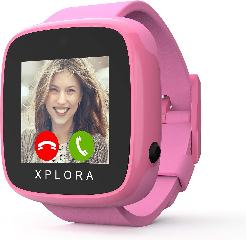XPLORA GO - Teléfono reloj para niños (SIM no incluida) - Llamadas, mensajes, modo colegio, botón SOS, localizador GPS, cámara y podómetro - Incluye 2 años de garantía (Rosa Duo)