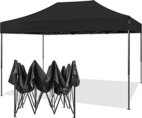 AMERICAN PHOENIX 10×15 Ez Pop Up Canopy Tent Portable Commercial Instant Canopies Outdoor Market Shelter 10'x15' Black Frame