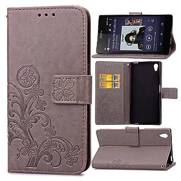pinlu Funda para Sony Xperia Z2 (5.2 Pulgada) Función de Plegado Flip Wallet Case Cover Carcasa Piel PU Billetera Soporte con Trébol de la Suerte Gris