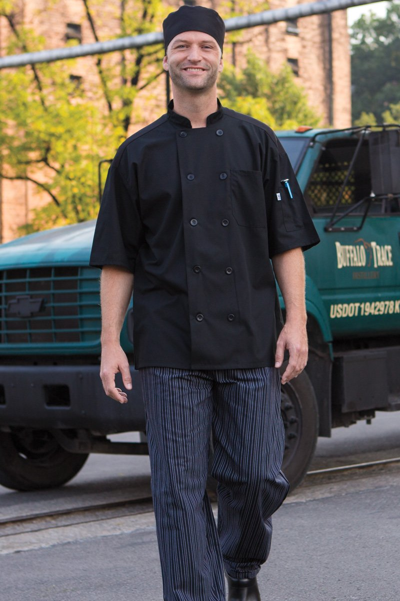 Uncommon Threads Delray Chef Coat with Mesh Short Sleeve 5.25, Black, Large by Uncommon Threads