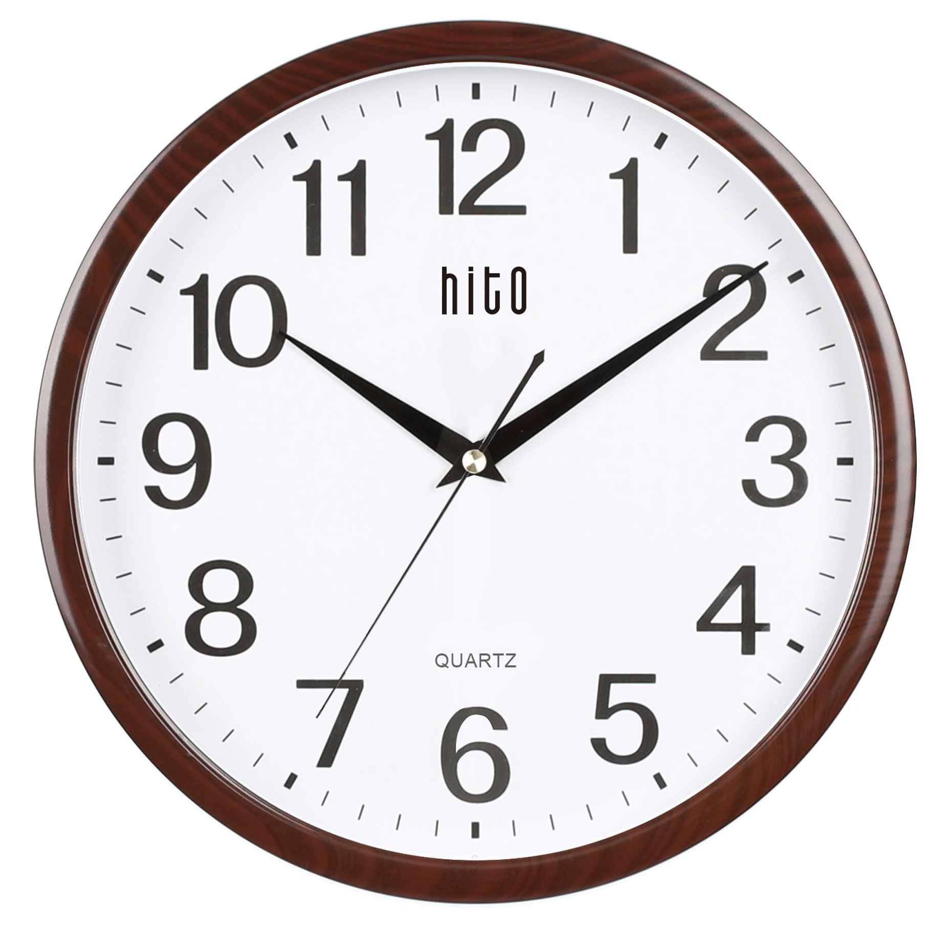 hito Silent Wall Clock Non ticking 12 inch Excellent Accurate Sweep Movement Glass Cover, Decorative for Kitchen, Living Room, Bathroom, Bedroom, Office, Classroom (12 inch, wood grain) by hito (Image #1)