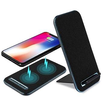 Aursen Cargador rápido inalámbrico de tela vaquera (negro). Diseño 2 en 1: soporte y carga. Con carga rápida de 10W para Samsung Galaxy S8 / S8 Plus / ...