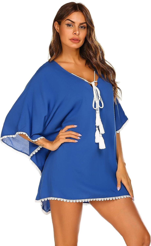 Ekouaer Womens Chiffon Cardigan 3//4 Sleeve Tie Front Sheer Shrug Bolero Cover Ups for Dresses S-XXL