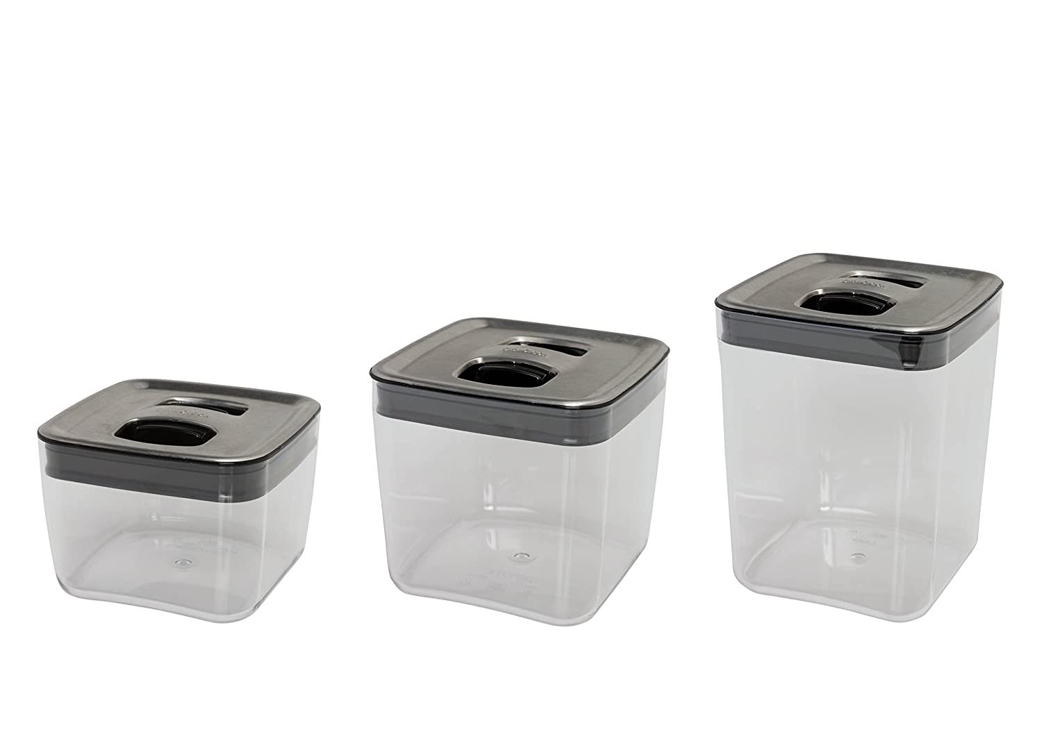 amazon com click clack cube storage containers with stainless amazon com click clack cube storage containers with stainless steel lids set of 3 kitchen dining