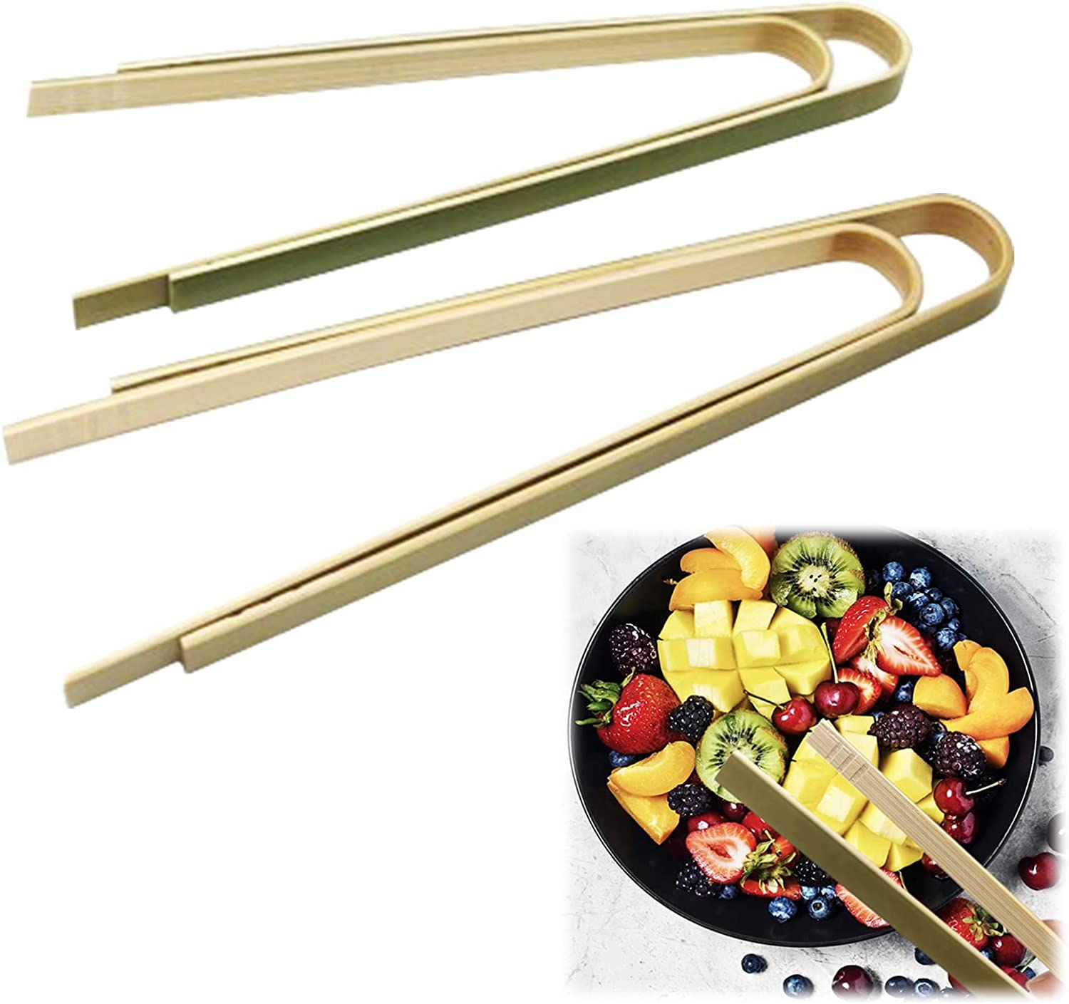 60 PCS Bamboo Mini Tongs, Waffle Tongs Wooden Toast Tongs, Toaster Small Tongs Serving Tongs Kitchen Tongs for Cheese Bacon Muffin Fruits Bread