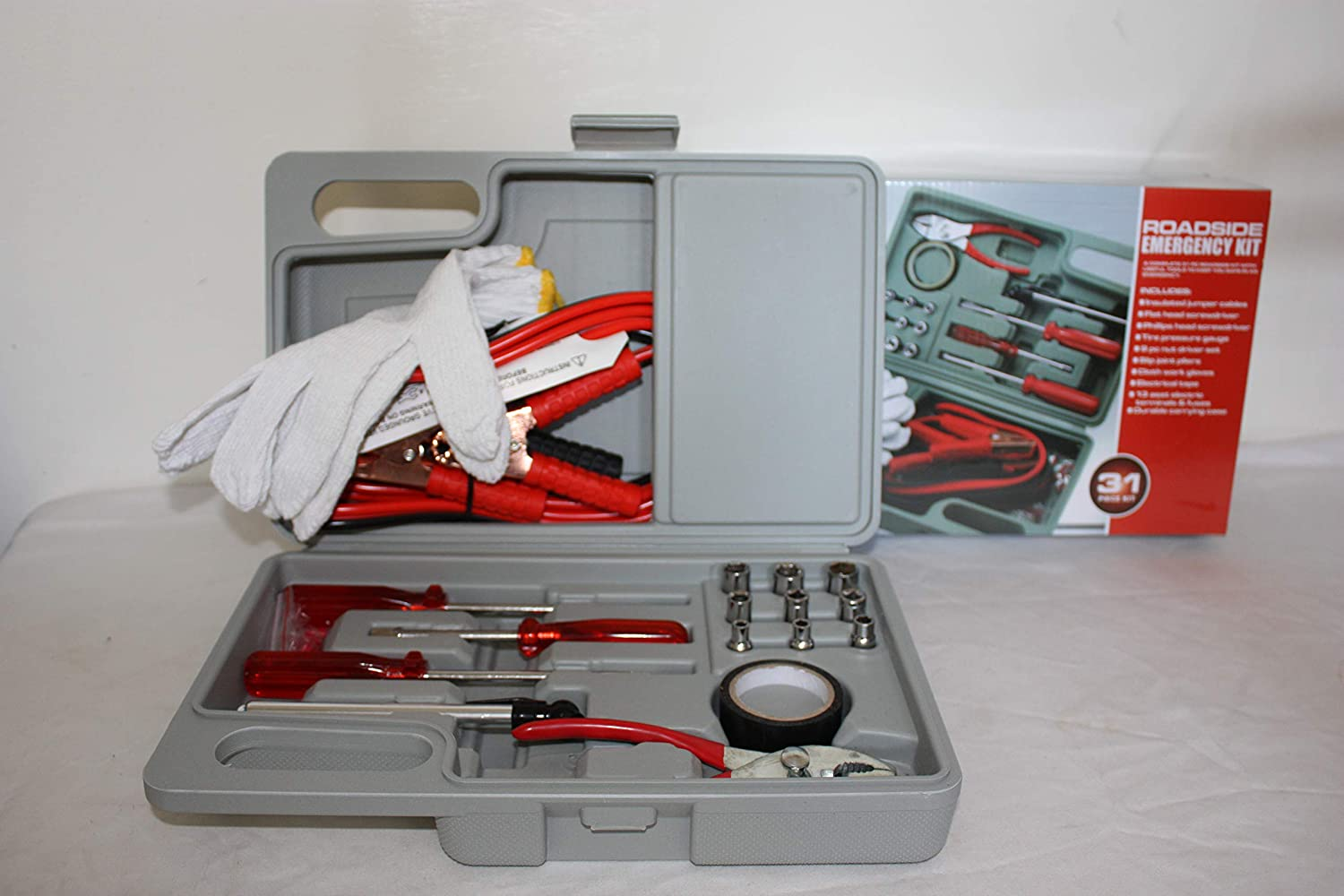 PSwholesale Roadside Emergency Tool and Auto Kit 31 Pieces Included