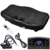 ReaseJoy Upgarded Vibration Power Plate Crazy Fitness Exercise Machine Oscillating Platform Magnet Foot Massage with Bluetooth MP3 Speaker Black