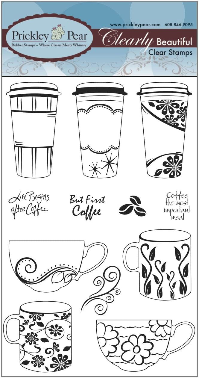CLR057 /& PPRS-D057 Prickley Pear Coffee Cup Clear Stamp and Die Set Bundle 2 Items