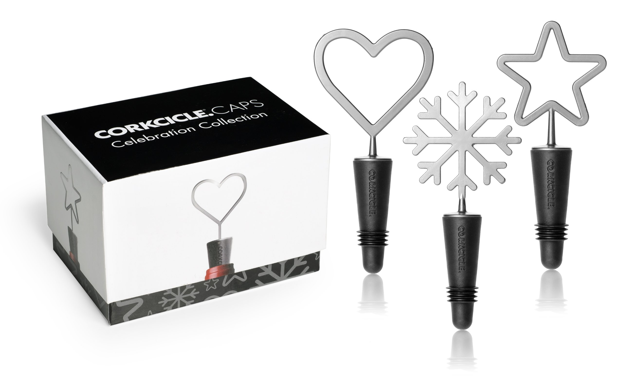 Corkcicle Celebration Wine Caps Set, Silver