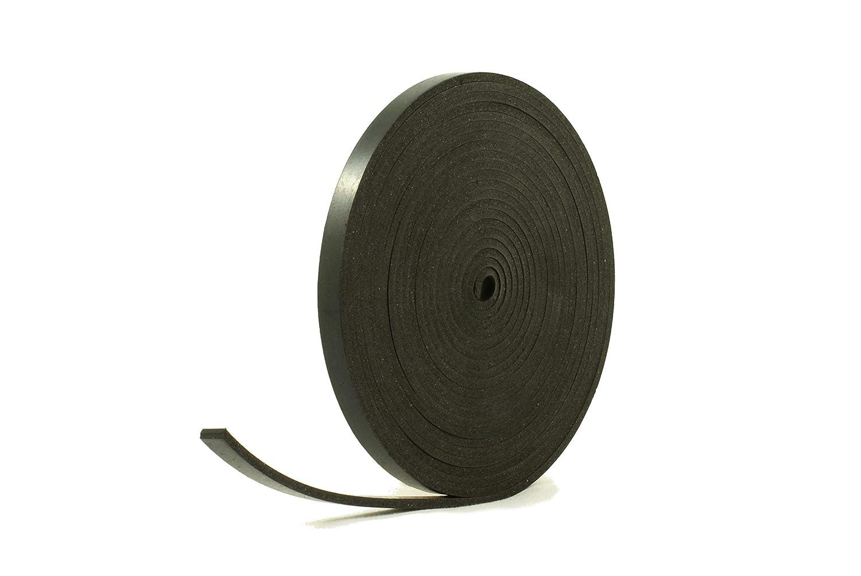 Tira de goma negra de caucho neopreno s/ólido de 10 mm de ancho x 4 mm de grosor x 5 m de largo