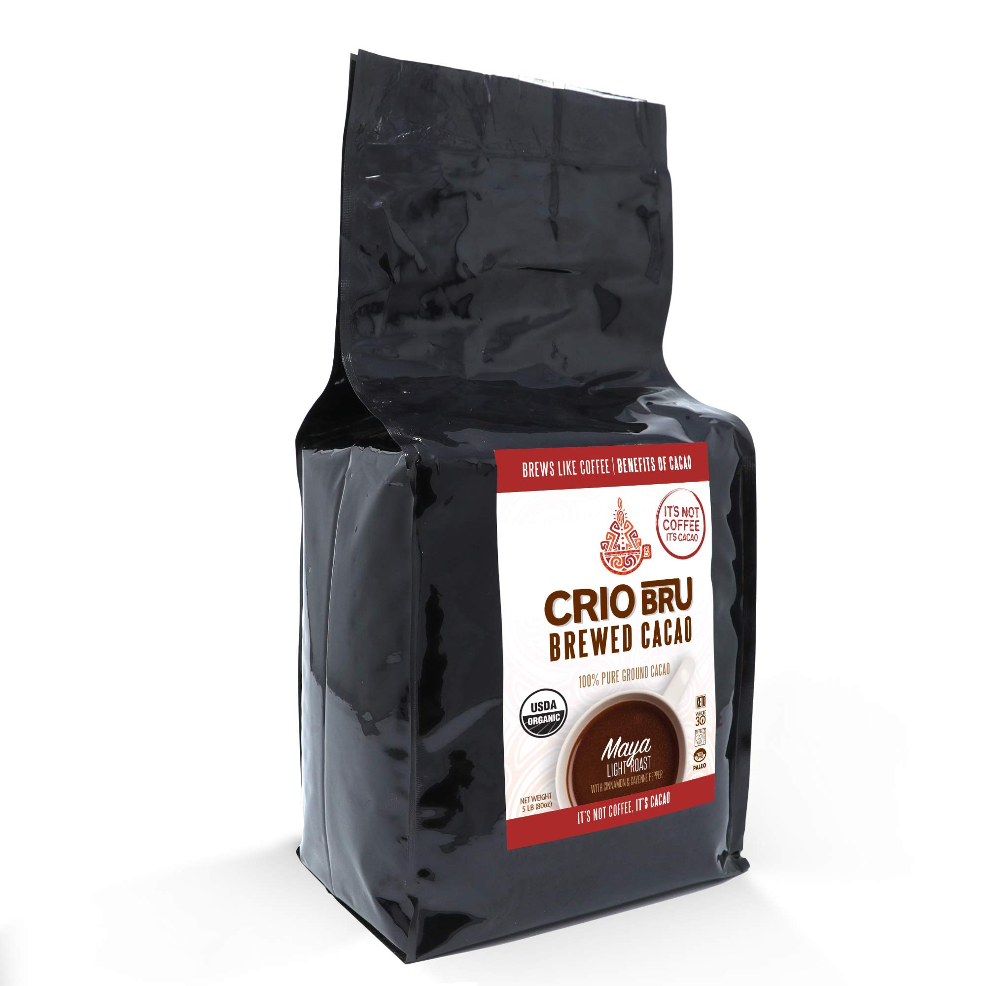 Crio Bru Maya Light Roast   Organic Healthy Brewed Cacao Drink   Great Substitute to Herbal Tea and Coffee   99% Caffeine Free Keto Whole-30 Low Calorie Honest Energy (80 oz (5 lb))