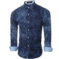 Bluester Luxury Stylish Fashion Mens Casual Shirts Long Sleeve Slim Fit Printing Tops T-Shirt