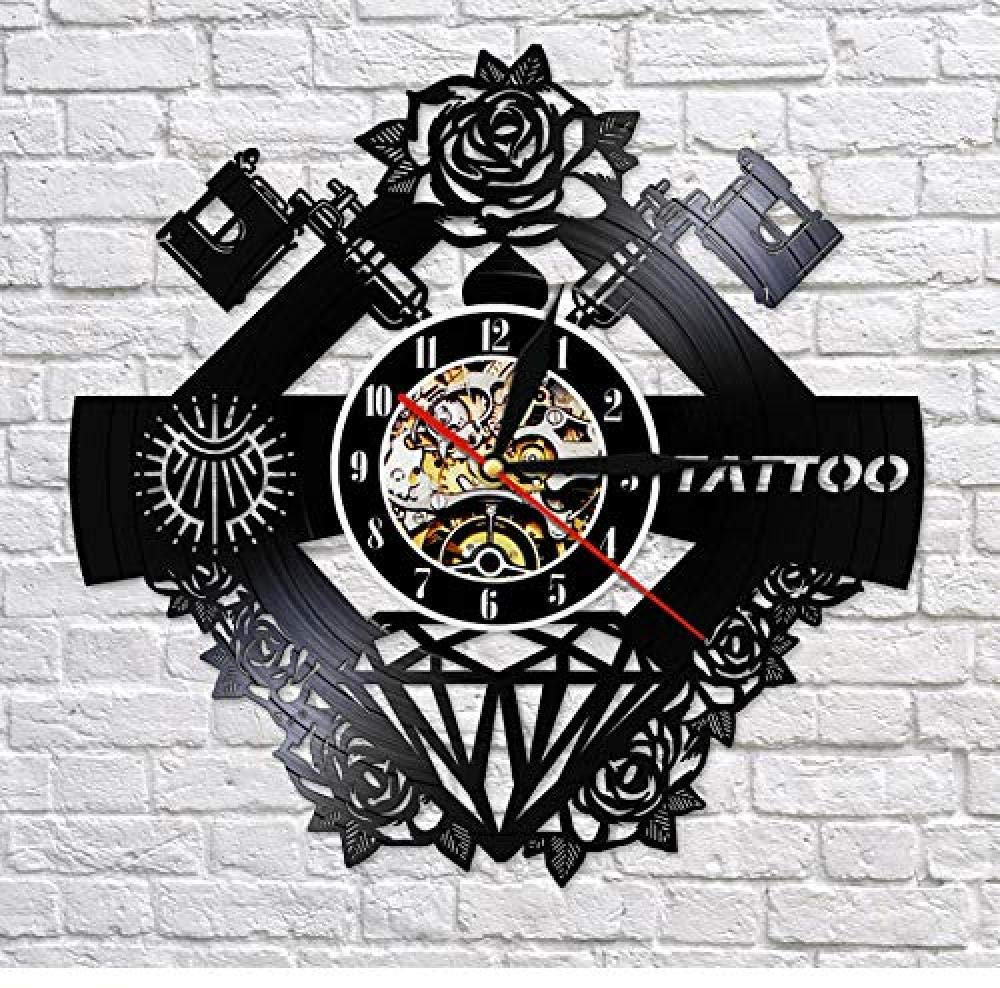 CHANGWW Tattoo Studio Logo Tatuaje Disco de Vinilo Reloj de Pared ...