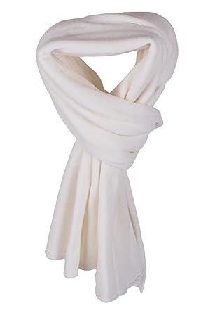 802cbe84d65 Love Cashmere Écharpe-Plaid pour Femme 100% Cachemire - Blanc - Fait main à