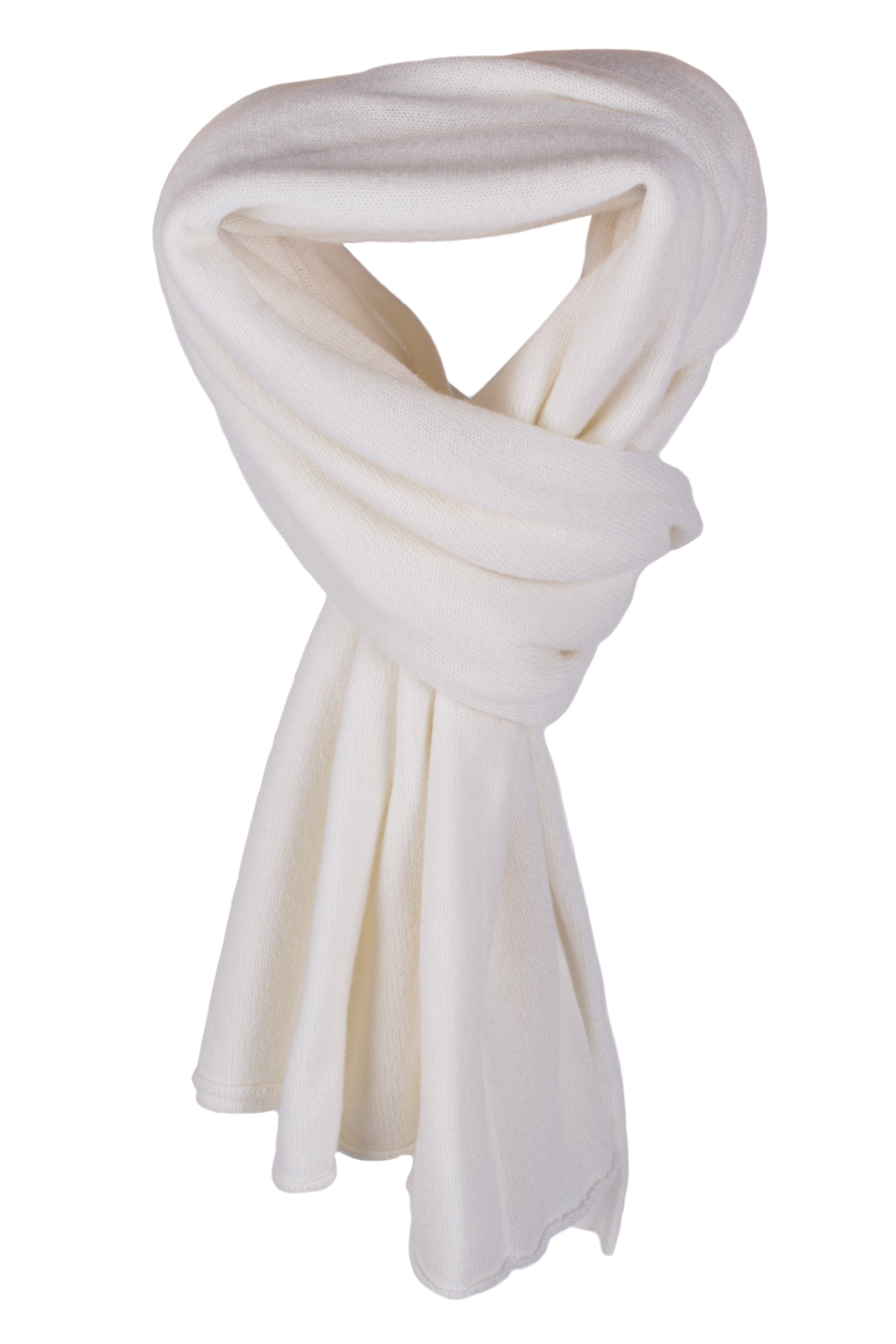 Women's 100% Cashmere Wrap Scarf - White - hand made in Scotland by Love Cashmere RRP $350
