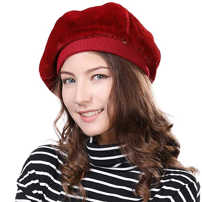 e83a3ad3f2c0b Artist Beret French Barrett Hat Velvet Mime Director Womens Winter Cap  Ladies Paris Stylish