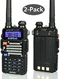 Baofeng 2-Pack Black BF-F9 V2+ HP 8Watt Tri-Power (1/4/8w) (USA Warranty) Dual-Band 136-174/400-520 MHz FM Ham Two-way Radio Transceiver