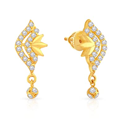 d5ff04160 Buy Malabar Gold and Diamonds 22k Yellow Gold and Cubic Zirconia Drop  Earrings Online at Low Prices in India | Amazon Jewellery Store - Amazon.in