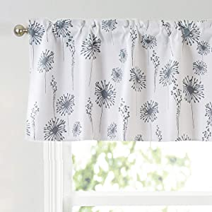 Annlaite Dandelion Floral Flower Gray Valance Window Curtain Valance for Living Room/Bedroom/Kitchen/Kids Rod Pocket Valance 52 by 18 Inch Gray