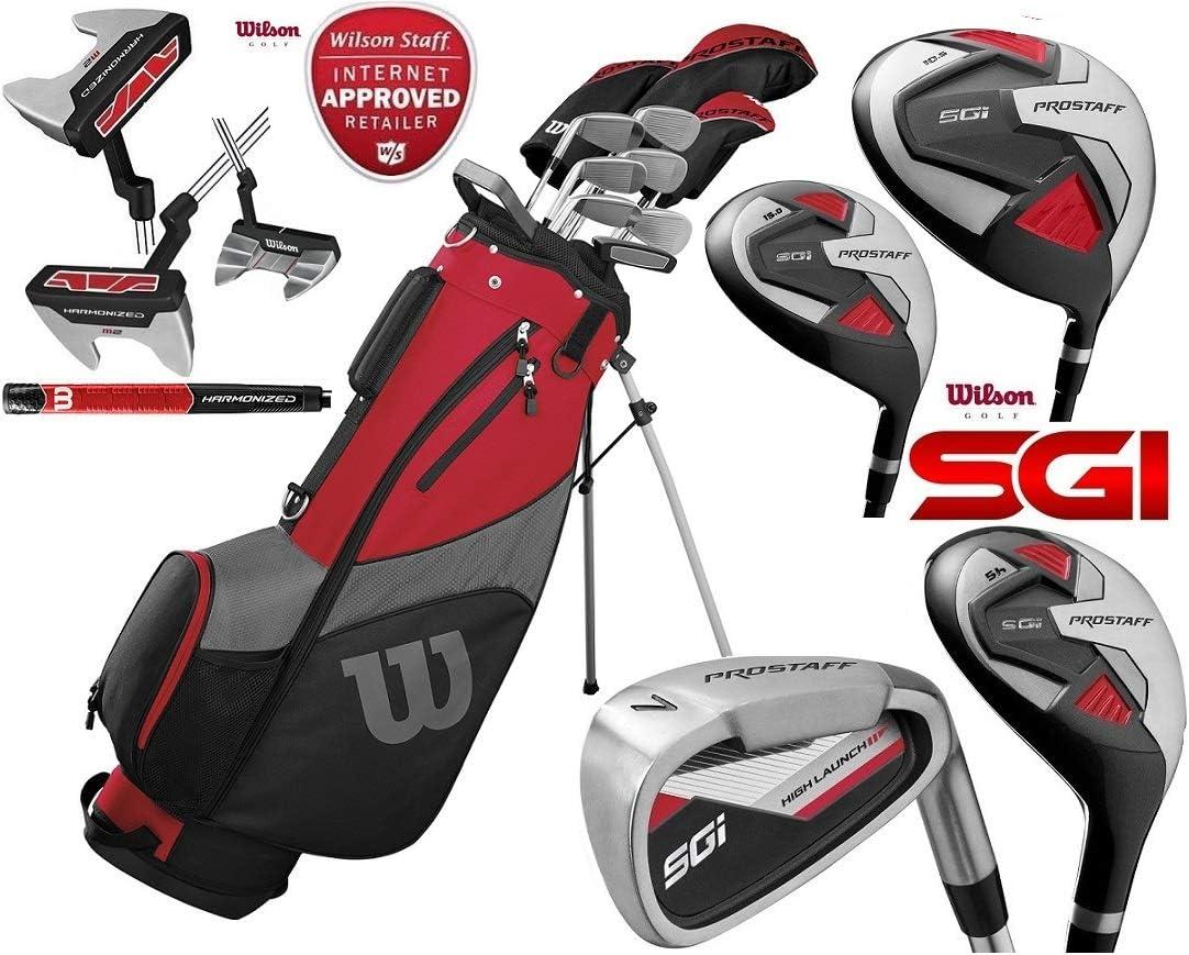 Wilson ProStaff SGI - Juego Completo de Palos de Golf para Hombre con Varillas de Grafito y Madera Reforzada para 2019 + Paraguas y Putter Harmanized M2 actualizado