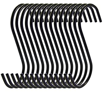 NX Garden 20 PCS 3.3 Inches Black Round S Hook Cookware Universal Pot Rack Hooks Steel Chrome Finish Sturdy Hanging Hook for Kitchenware Pots Utensils Towels