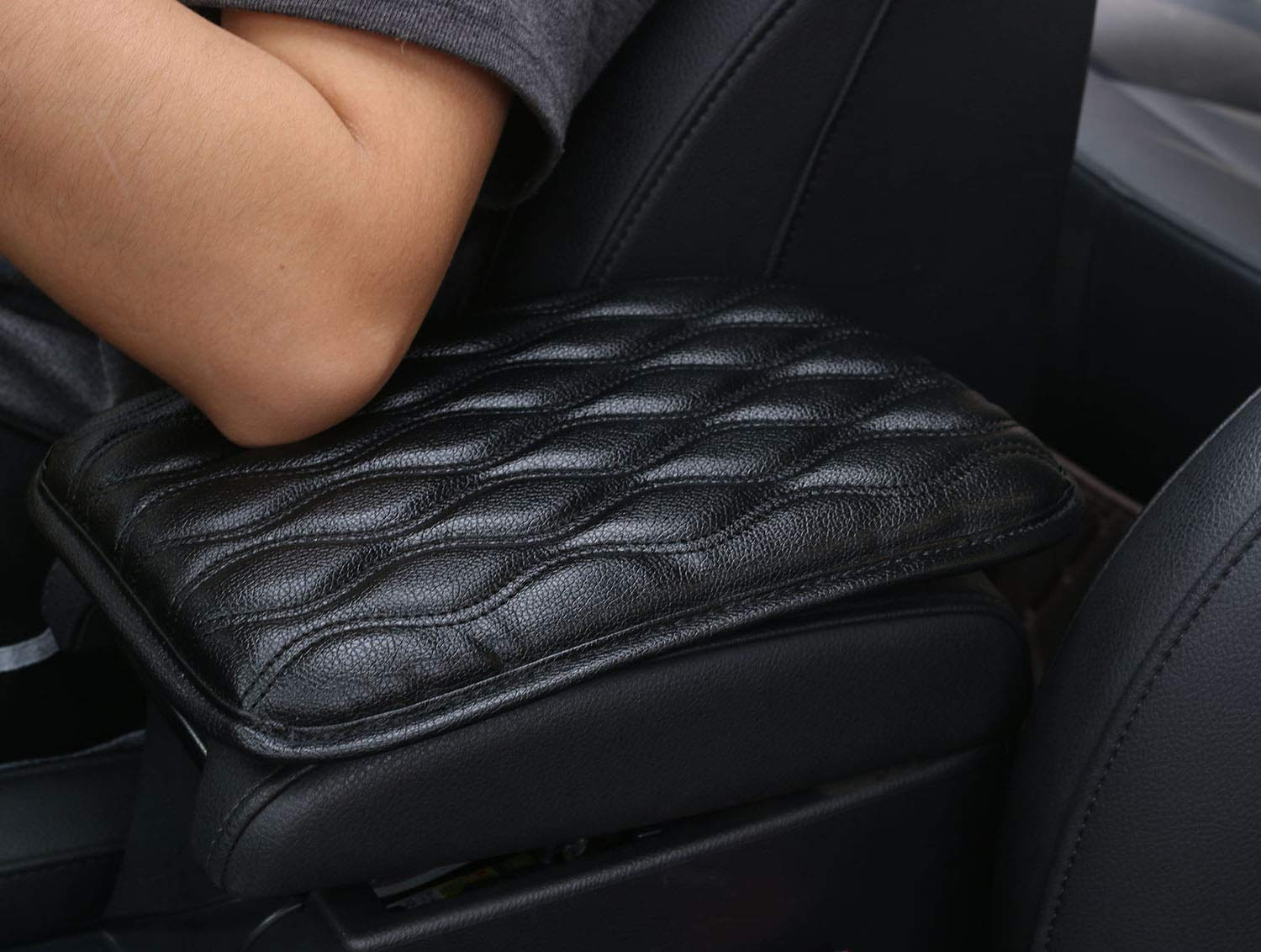 Dotesy Auto Center Console Cover Armrest Pads, PU Leather Universal Car Center Console Box Arm Rest Pads Cushion Protector (Black)