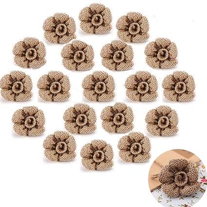 20pcs Natural Yute Arpillera Flores Pegatinas Manualidades para diademas para Navidad decoración para el hogar hechos