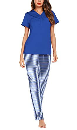 3ac32597c616 Romanstii Women s Pajama Set Shirred Short Sleeve V-Neck T-Shirt with Long  Strpies