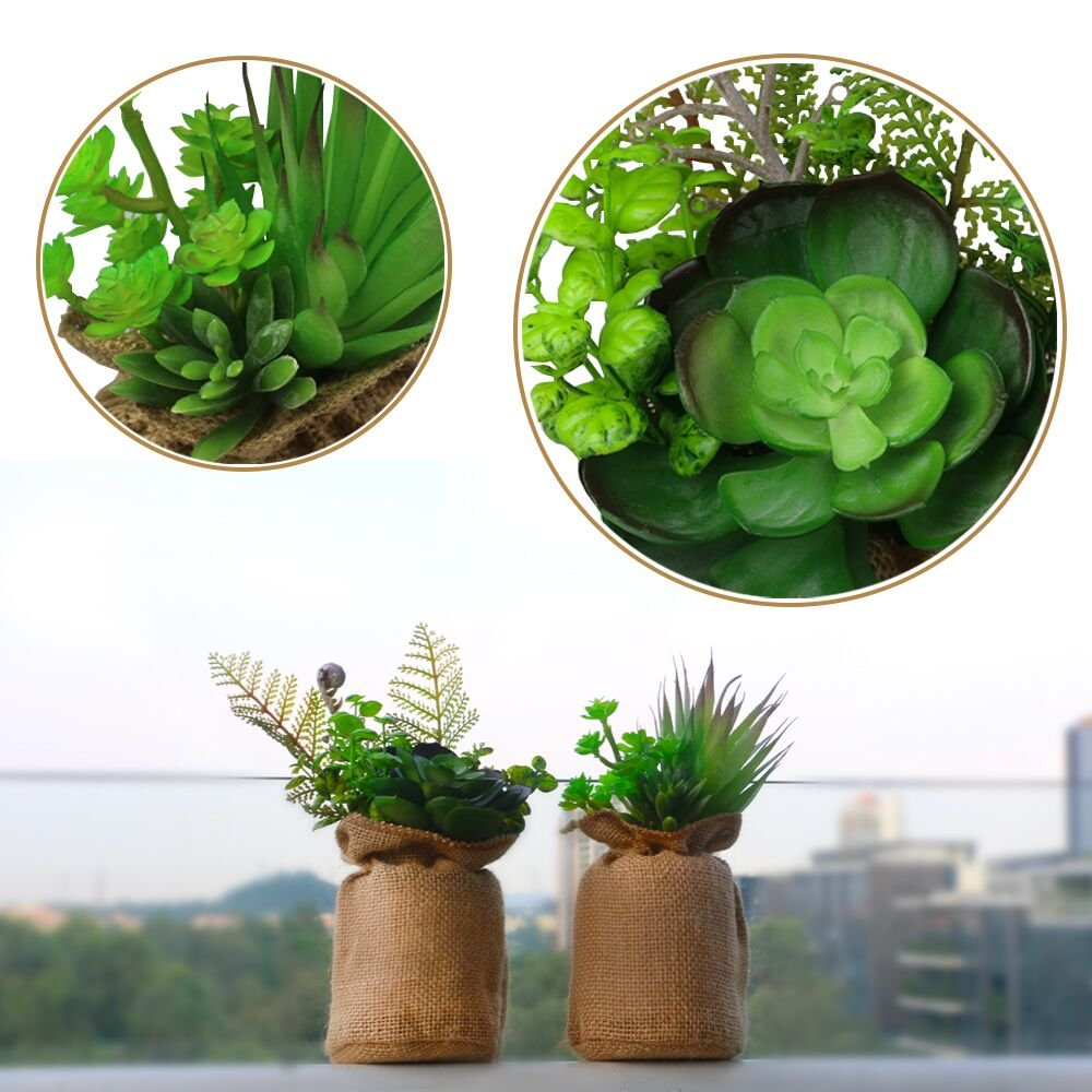 Plantas suculentas Artificial, artificial plantas suculentas, plástico Bonsai en lino bolsa pequeña, en maceta plantas Interior, decoraciones para el hogar ...