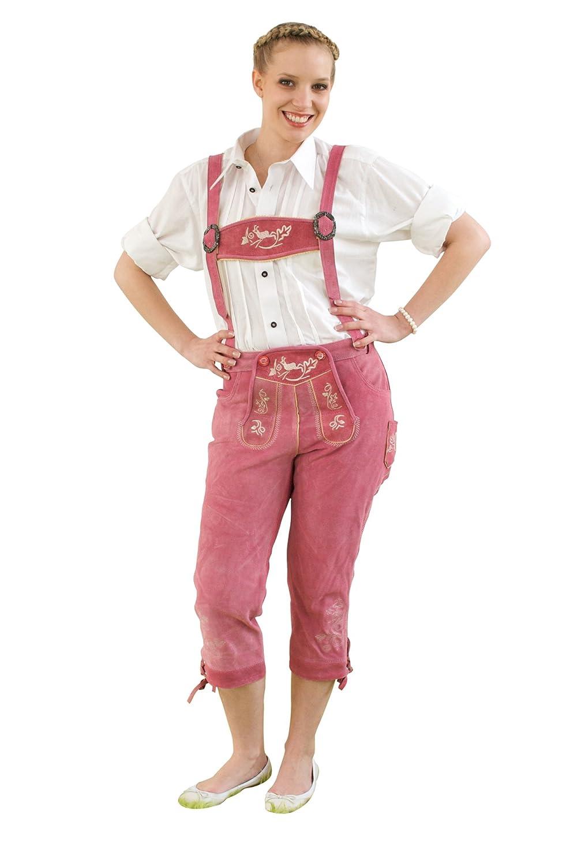 Damen Trachten Kniebundhose pink aus feinstem Rindsveloursleder Gr. 32-50