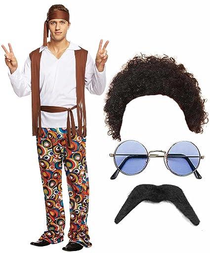 Amazon.com: Hippie Hippy hombre 60s 70s disfraz peluca ...