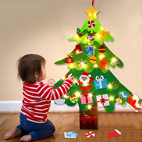 Anrapley DIY Felt Christmas Tree for Kids 3.2ft Christmas Tree with 26pcs Detachable Xmas Ornaments Window Door Wall Hanging Decorations Holiday New Year Party Gifts for Toddlers