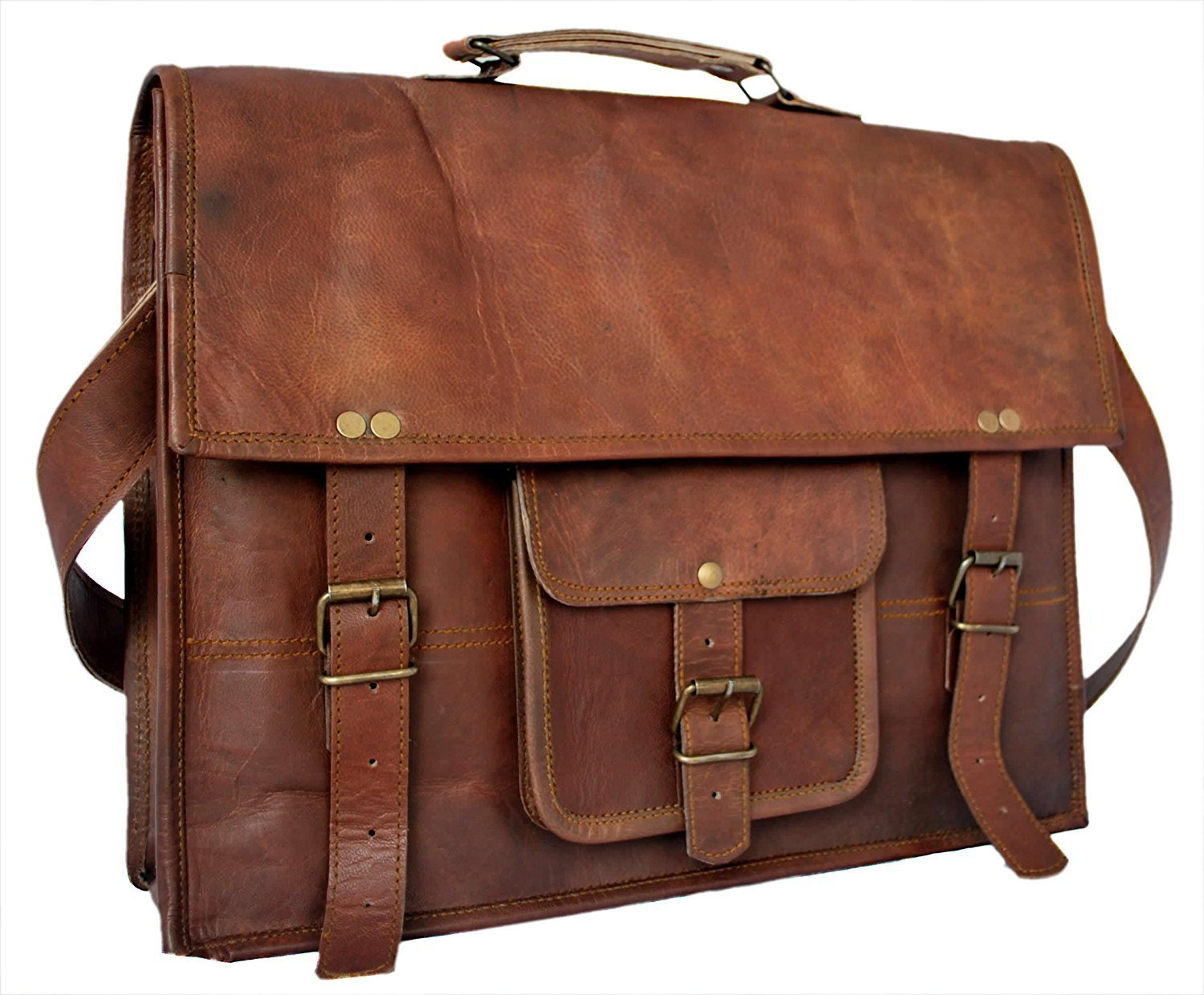 c7043bc90f8b TUZECH Leather Bag Vintage Cross Body Messenger Courier Satchel Bag Gift Men  Women ~ Business Work Briefcase Carry Laptop Computer Book Fits Laptop Up  to 11 ...