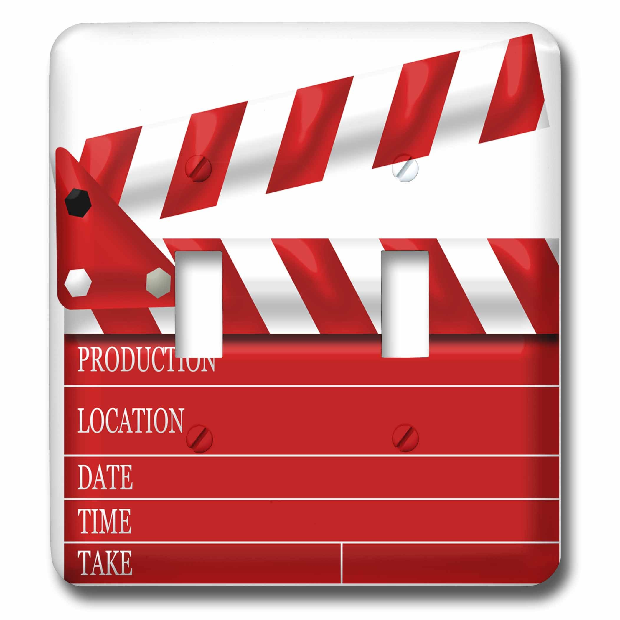 3D Rose lsp_222696_2 Movie Clap Board Illustration in Red and White Double Toggle Switch