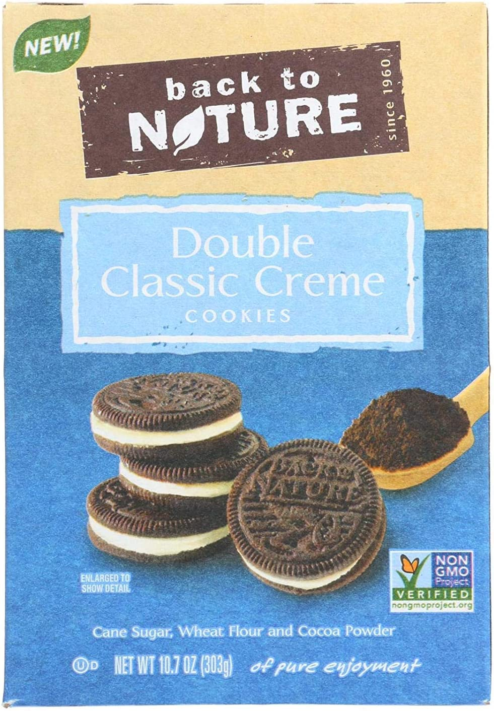 BACK TO NATURE, COOKIES, DBL CLASSIC CREME, Pack of 6, Size 10.7 OZ - No Artificial Ingredients GMO Free