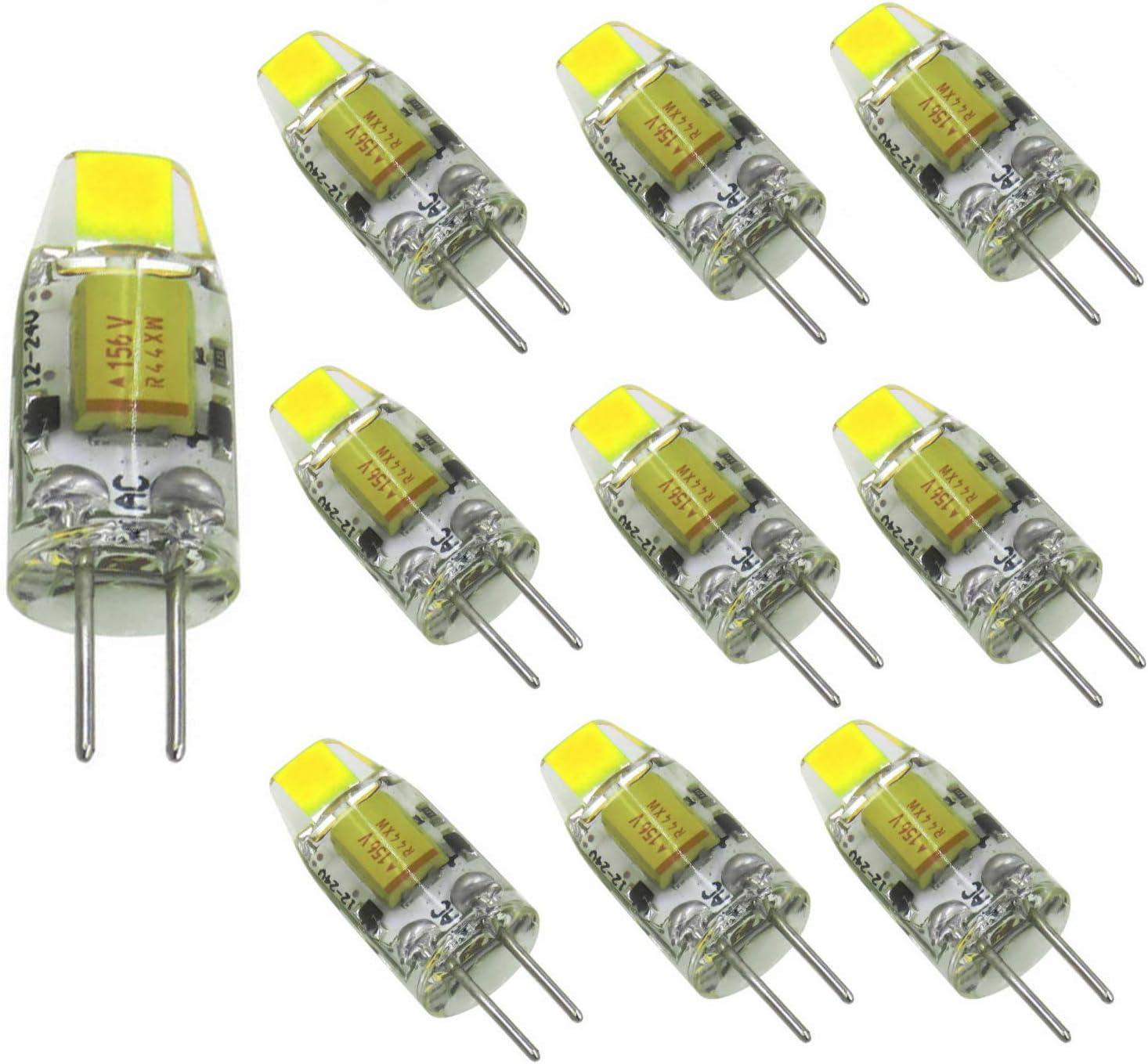 aiyowei paquete de 10 piezas, BI-PIN - Mini Bombilla G4 LED 12 V-24 V DC 1W COB 0705 SMD blanco 6000K
