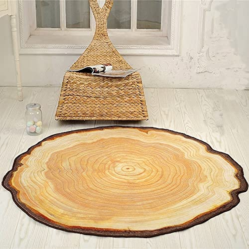 Wolala Home Beige Yellow Round Area Rug Tree Ring Design Round Carpet Big Tree Large Rug Bedroom Rugs 6 Feet 6 Inch by 7 Feet 3 Inch 6 6×7 3