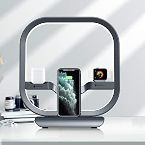 IIQ Desk Lamps for Home Office, Table Lamp with Wireless Charger, Desk Lamps with USB C/Type C & USB A Port, Modern Desk Lamp with Touch Control, Color Temperatures, Memory Function