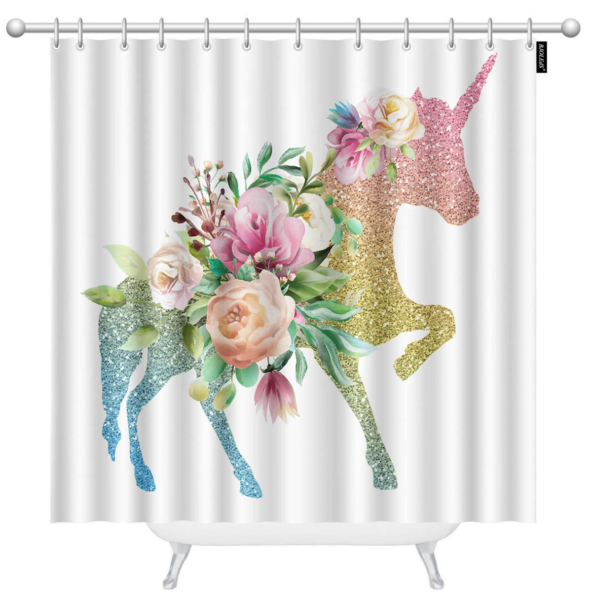 BJOLEdS Colofrul Unicorn Shower Curtains Beautiful Unicorn Rainbow Color with Shiny Golden Glitter Watercolor Flowers Decorative Bathroom Waterproof Fabric Shower Curtain with 12 Hooks 60 x 72 Inches