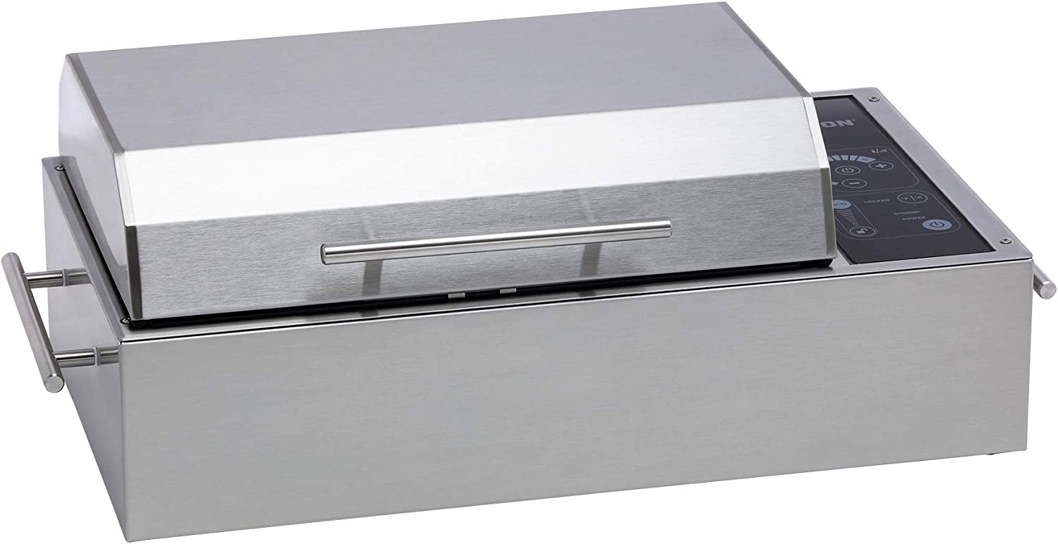 A picture of a grill in rectangular shape, with handles on both sides and one on the lid.