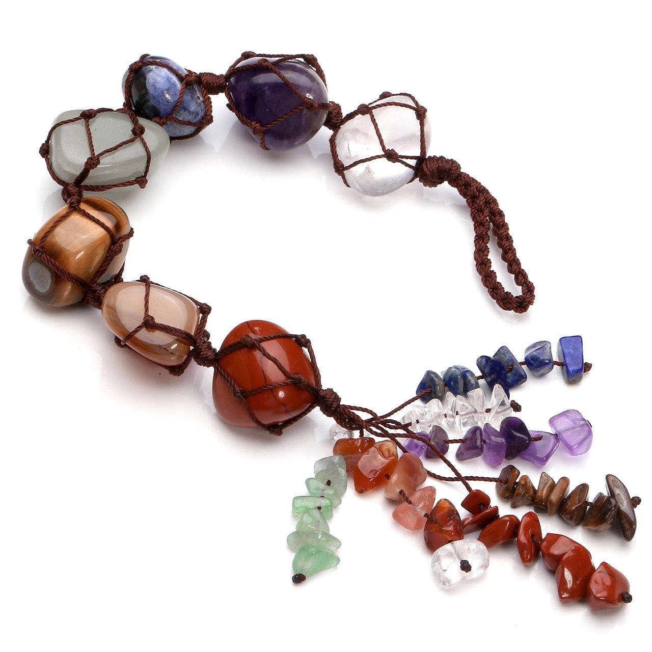 Jovivi Chakra Stones Set, 7 Chakras Healing Crystals Wall Hanger Tumbled Gemstones Tassel Spiritual Meditation Hanging Ornament/Window Ornament/Feng Shui
