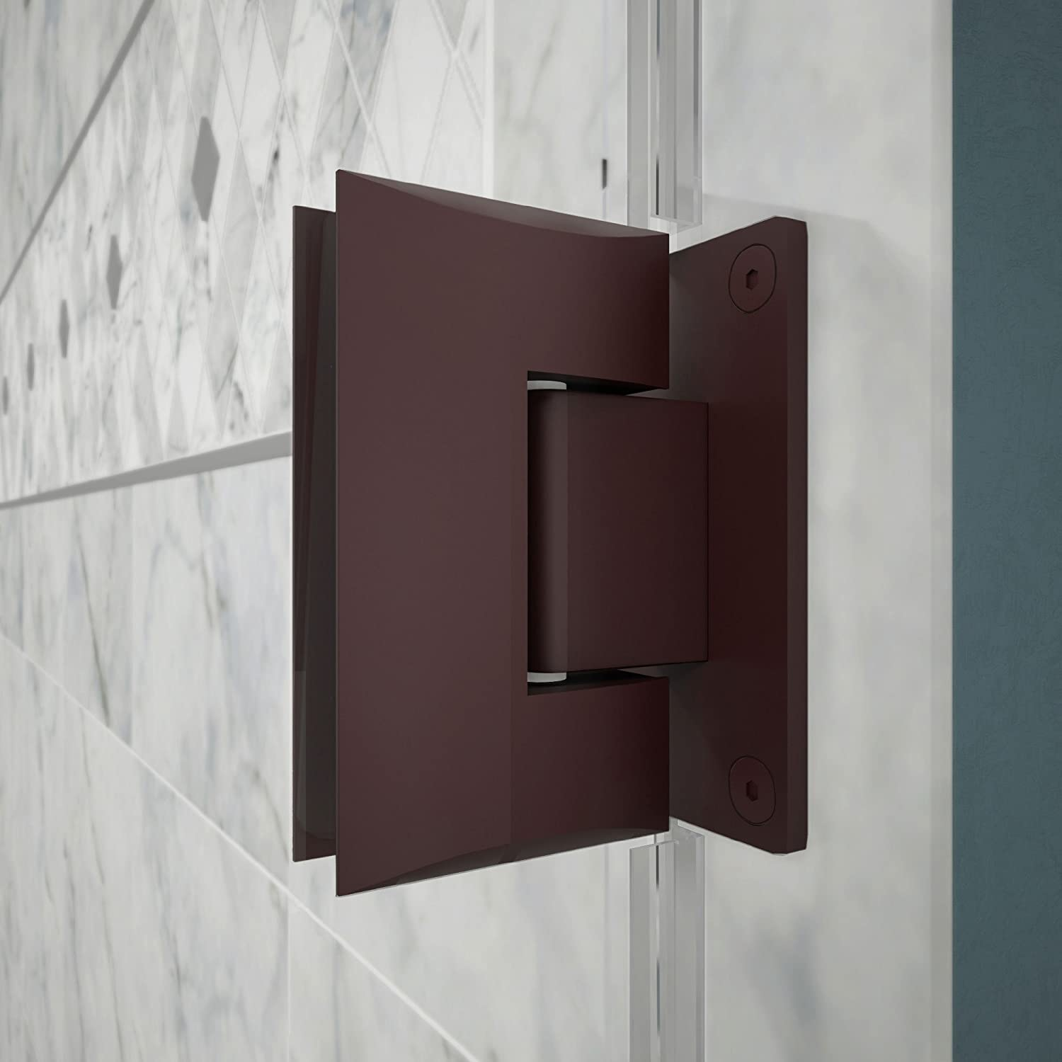 DreamLine Unidoor 59-60 in. W x 72 in. H Frameless Hinged Shower Door with Shelves in Oil Rubbed Bronze, SHDR-20597210S-06